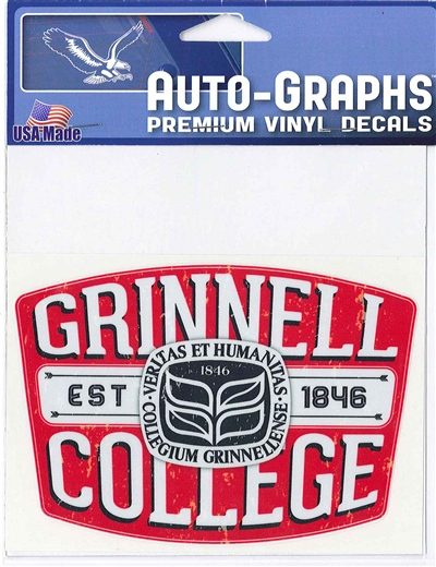 Grinnell College Seal On Retro Style Patch Decal