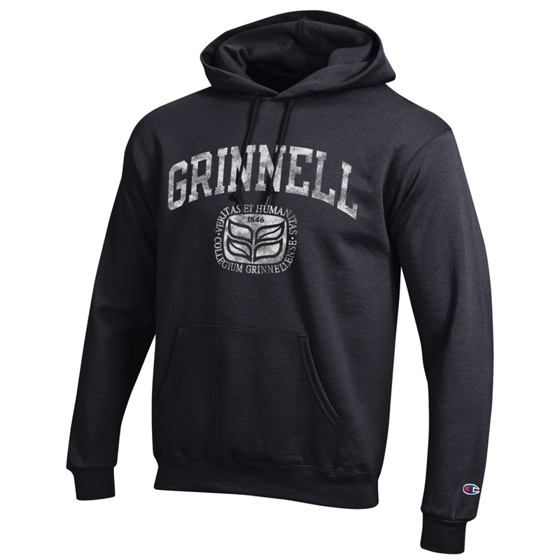 Black Hooded Sweatshirt with College Seal