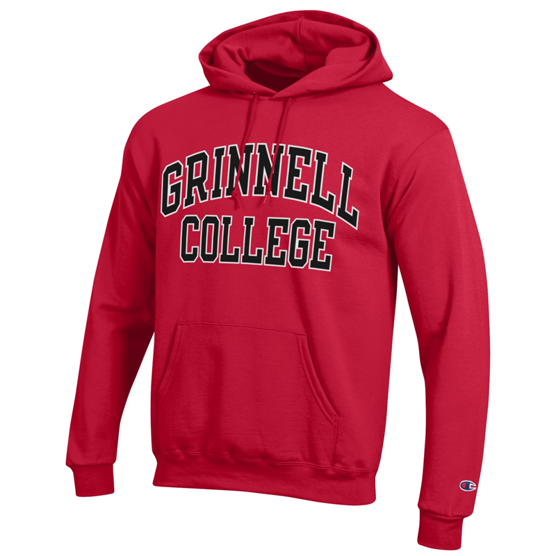 Red Hooded Sweatshirt With Block Lettering