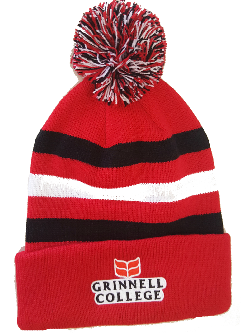 Junior Striped Knit Cuff Hat with Pom Grinnell College (SKU 110450523)